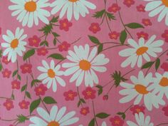 vtg Fieldcrest FULL FITTED Sheet Pink Daisy floral retro 60s fabric mod percale #Fieldcrest #Modern