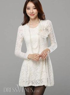 Auspicious Korean Style Slim Long Sleeves Lace Dress , Sleeves
