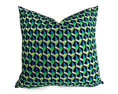 Rocking Retro Pillow Cover in turquoise blue, bright green and sunshine yellow in triangle geometrics by PillowThrowDecor,