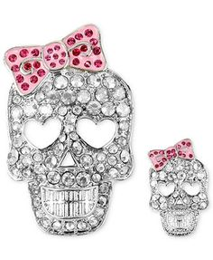 Betsey Johnson Brooch Set, Silver-Tone Crystal Accent Skull Pins