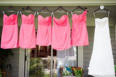 SALE SET of 5 Wedding Dress Hangers Bridesmaid by DeighanDesign, $110.00