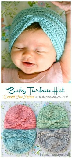 Crochet Turban Hat Free Patterns & Instructions Crochet Turban, Easy Crochet Hat, Crochet For Boys, Newborn Crochet, Crochet Baby Booties, Baby Hats Knitting, Baby Knitting Patterns, Hat Patterns, Crochet Patterns