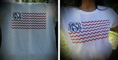 """Show off your American pride all summer long! Perfect for Memorial Day, Fourth of July, Labor Day, or any other day. Details:Ladies' FitSize Small-Extra Large (Please see size chart)100% CottonContoured with side seams for a feminine fit Monogram is roughly 3.5""""x3.5""""Interlocking Monogram OnlyTo Personalize:Pick your shirt size Enter your monogram EXACTLY the way you want it to appearHelpful Hints:A monogram for a female: First Initial, Last Initial, Middle Initial. For example, Ashley…"""