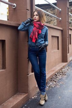 Perfect outfit. Gap high-rise jeans, denim shirt. The leopard boots are the killer