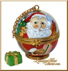 Santa Globe with Present Limoges Box (Beauchamp).