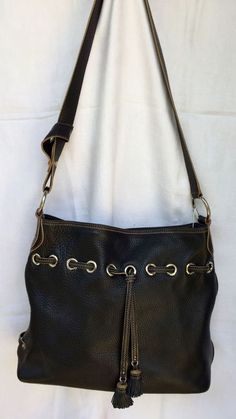 Cole Haan Pebbled Black Leather Drawstring Bucket Purse 8PO6 Villager #ColeHaan #TotesShoppers