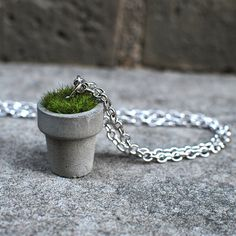 Handcrafted concrete planter necklace Sanded and sealed with vegan wax Artificial grass tuft 16-inch silver-plated chain