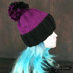58eb8f11957 Items similar to Chunky hand knitted pom pom beanie hat - Winter chunky knit  hat acrylic rock alternative style fashion trendy accessory pom pom warm on  ...