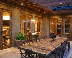 Mediterranean Classic Home Style that Attracts Your Attention : Rustic Patio With Reclaimed Wood Dining Table Bay Area Residence