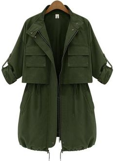 Army Green Long Sleeve Drawstring Pockets Trench Coat - Sheinside.com