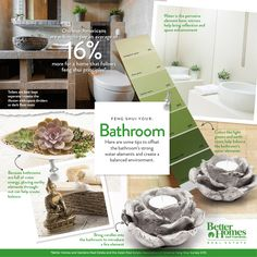 Feng Shui your Bathroom: Bring candles into the bathroom to introduce a fire element. Colors like light green and earth tones help balance the bathroom's water elements. Toilets are best kept separate - create the illusion with space dividers or dark floor mats. Learn how feng shui impacts Chinese Americans' homebuying on our blog http://bhgrealestateblog.com/better-homes-and-gardens-real-estate-and-areaa-survey-finds-feng-shui-plays-role-in-home-selection/
