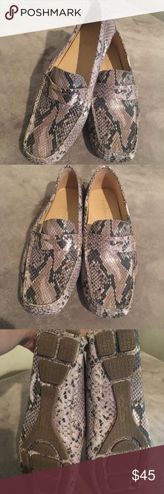 Cole Haan Trillby drivers Gently used Cole Haan python print driving moccasins! Super comfortable and very chic! Only worn a couple of times. I love these shoes but need to make room in the closet! Cole Haan Shoes Moccasins
