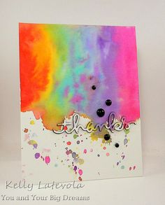 Wow watercolors!  Don't be afraid to use them liberally to create your own masterpiece.  Die cut a sentiment and built it up with black card stock for a similar look to this handmade thank you card.