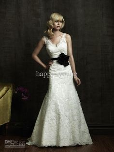 Wholesale High Quality A-Line V-Neck Wedding Dresses Latest Bride wedding dresses 2012, Free shipping, $187.74/Piece   DHgate