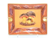 Hermes Ashtray Porcini Cèpe Mushrooms Brown Orange Gold Plate Dinnerware VIDE POCHE