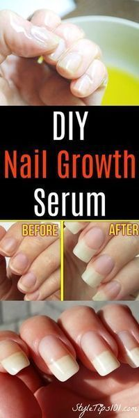 DIY Nail Growth Serum: tsp aloe vera gel tsp castor oil (if you don't have castor oil, you can also use coconut oil, olive oil, or flaxseed oil) 1 vitamin E capsule a garlic clove Massage into the nail and cuticle. Leave on. Grow Nails Faster, How To Grow Nails, Ongles Forts, Diy Beauty, Beauty Hacks, Beauty Tips, Beauty Products, Beauty Ideas, Nail Products