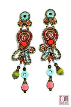 Voyage unique boho chic earrings. #doricsengeri #voyage #longearrings #chic #orangeearrings #boho