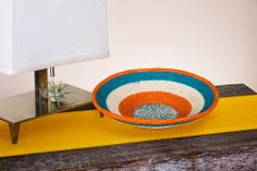 Fair Trade Woven Bowl in Orange and Blue by Nayariva