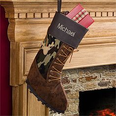 This Christmas Stocking for hunters is hilarious! Love the camo, laces and boot treads on the bottom ... too funny! #Hunter #Christmas #Stocking