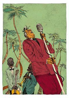 Acid Jazz Essential by Olivier Bonhomme, via Behance Arte Jazz, Jazz Art, Illustrations, Illustration Art, Graffiti, Dope Art, Retro Art, Art Inspo, Art Drawings