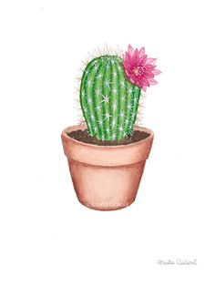 Cactus watercolor art print. Succulent painting. Plant wall