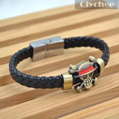 Hot Anime One Piece Luffy's Ship Flag Straw Hat Skeleton Logo Knit Leather Bracelet Cosplay Bangle Gift-in Chain & Link Bracelets from Jewelry on Aliexpress.com | Alibaba Group