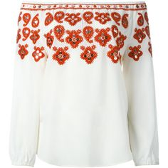 Tory Burch Damen embroidered off shoulder blouse - reduziert (28,760 INR) ❤ liked on Polyvore featuring tops, blouses, embroidered blouse, white top, tory burch, off the shoulder blouse and off shoulder blouse