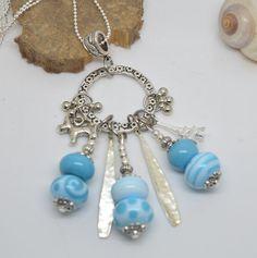 sautoir 76 cm perles verre filé au chalumeau bleu turquoise chaine argent 925 : Collier par liloo-creations
