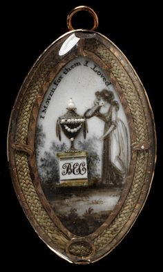 1775-1800 Georgian Mourning Pin Engraved gold, ivory painted in watercolour with a miniature embellished with hair and pearls