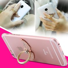 Metal Head Ring Buckle Stand Phone Case For Samsung S6 Edge Plus S8 S5 4 Note 5 For iPhone 5S 6 6S 7 Plus Cover Handmade Diamond