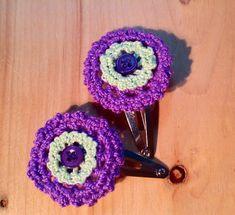 Crochet Hair clip, snap barrette, crochet flower hair clip, children & baby 2 flower hair accessories, gift for girl, school day gifts by MadeByGrandmasHands on Etsy