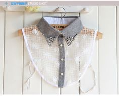 Elegant and fashionable handmade fake collar necklace. Comfortable and convenient to wear. Work Fashion, Fashion Details, Diy Fashion, Cheap Trendy Clothes, Clothes For Women, Sewing Collars, Dressed To The Nines, Fashion Project, Discount Designer Clothes