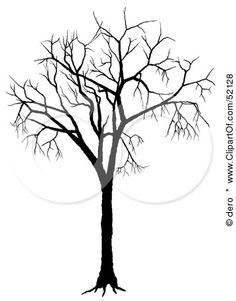 Royalty-Free (RF) Clipart Illustration of a Bare Tree Silhouette - Version 1 by dero