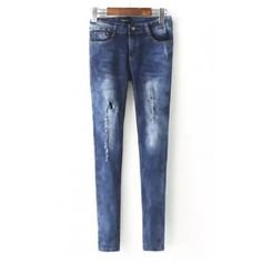 Zipper Fly Bleached Cutout Ripped Skinny Jeans ($23) ❤ liked on Polyvore featuring jeans, beautifulhalo, destructed jeans, destroyed jeans, distressed jeans, bleached jeans and torn skinny jeans