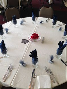 Wedding Reception Table with navy blue