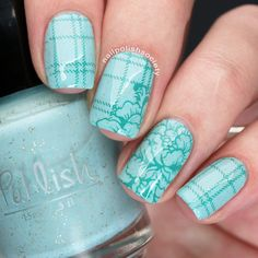 Nailpolis Museum of Nail Art | Mint Plaid and Floral by Emiline Harris