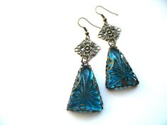 Art Deco Glass Teal Earrings