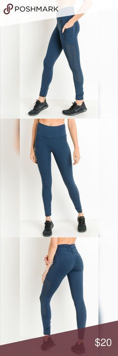 de4f513c8f84f7 Shirred Leggings with Perforated Mesh Panels These leggings feature  perforated dot-mesh panels that run