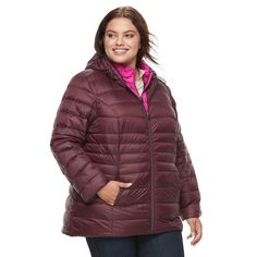 Plus Size d.e.t.a.i.l.s Down Vest & Jacket Set, Women's, Size: 3XL, Red