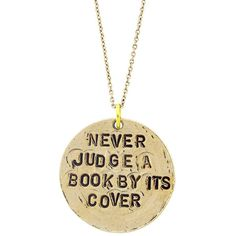 "Alisa Michelle ""Never Judge A Book"" Necklace ($19) ❤ liked on Polyvore featuring jewelry, necklaces, accessories, gold, pendant jewelry, chain pendants, 14k necklace, chain necklaces and 14 karat gold jewelry"