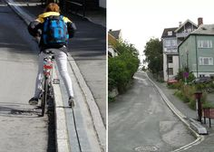 """The """"CycloCable,"""" situated at the Brubakken Hill in Trondheim, Norway, is the world's first bicycle escalator that pushes cyclists uphill in urban areas. Bike Lift, Trondheim Norway, Bored Panda, First World, Transportation, Photo And Video, City, Healthy, Blog"""
