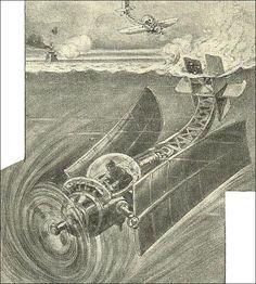 """Ideas and inventions for the maritime warfare of the future.   """"Je sais tout"""" magazine, France April 1916  Art by Henri Lanos http://merveilleuxscientifiqueunblogfr.unblog.fr/page/3/"""