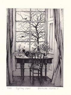 Spring View by Pamela Grace Landscape Pencil Drawings, Pencil Art Drawings, Art Drawings Sketches, Nature Sketches Pencil, Realistic Pencil Drawings, Kunst Inspo, Art Inspo, Art And Illustration, Window Sketch