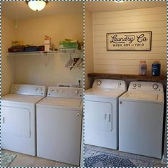 Basement Laundry Room Ideas – Whether a big or a small house, there must be an extra room for some homeowners. Moreover, a basement often becomes a room to store good stuff or even left empty. Laundry Room Remodel, Laundry In Bathroom, Small Laundry Closet, Basement Laundry Area, Small Laundry Area, Washroom, Laundry Closet Makeover, Laundry Room Shelves, Laundry Decor