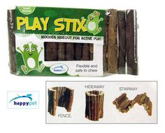 Happypet Small Animal Cage Accessories Play Stix Wooden Hideout ~ CHOICE OF SIZE