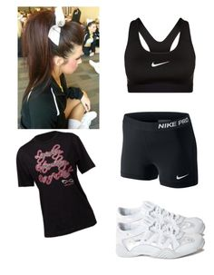 """""""Cheer Practice Outfit"""" by hoodxxxhemmo ❤ liked on Polyvore Cheer Practice Outfits, Cheer Outfits, Dance Outfits, Sport Outfits, High School Cheer, College Cheer, Cheerleading Makeup, Cheer Clothes, Cute Workout Outfits"""