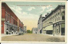 Vintage Postcard Wasington Street, Looking West, Greencastle Indiana Octochrome