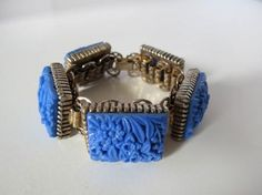 VTG HUGE Wide Chunky Molded Celluloid Tile Bookchain Bracelet