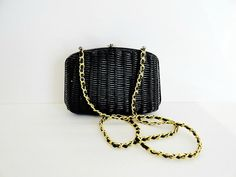 Vintage 1960's  Wicker Cross Body Chain Purse/ by camelotvintage, $48.00