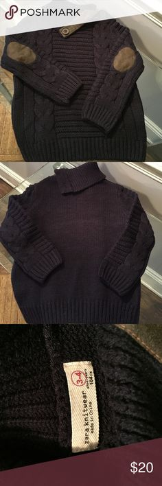 New Zara little boys sweater New Without Tags. Never worn boys navy sweater. Rustic elbow patch and collar trim. Size 3-4. Zara Shirts & Tops Sweaters